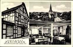 Postcard Bruchhausen Unkel Rhein, Gasthaus Fuhrmann, Innenansicht, Kirche