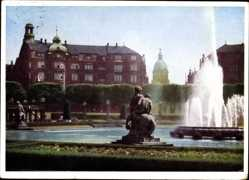 Postcard Mannheim in Baden Württemberg, Am Friedrichsplatz, Fontäne, Brunnengruppe