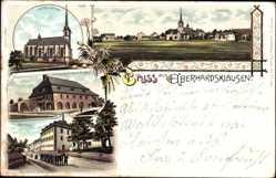 Litho Eberhardsklausen Klausen Eifel, Wallfahrtskirche, Kloster, Pfarrhaus
