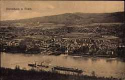 Postcard Horchheim Koblenz in Rheinland Pfalz, Rheindampfer, Panorama vom Ort