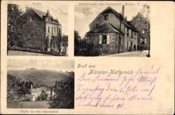Postcard Münster Metternich Münstermaifeld, Schule, Gasthof zum Schrumpftal