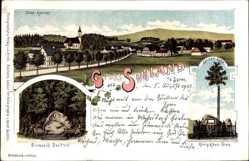 Litho Sohland Spree, Bismarck Denkmal, König Albert Stein, Blick auf den Ort