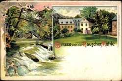 Litho Plaidt im Landkreis Mayen Koblenz, Blick auf die Rauscher Mühle, Fluss