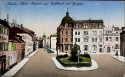 Postcard Landau in der Pfalz, Postplatz mit Kreditbank und Synagoge, Fassaden