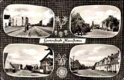 Postcard Haunstetten Siebenbrunn Augsburg in Schwaben, Landsberger Str., Martinistr.