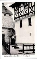 Postcard Blankenheim Eifel, An der Ahrquelle, Fachwerkhaus, Becken