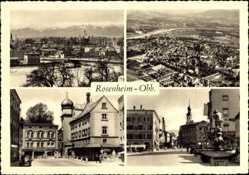 Postcard Rosenheim im Alpenvorland Oberbayern, Stadtansichten, Denkmal, Kirche
