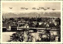 Postcard Rosenheim im Alpenvorland Oberbayern, Stadtpanorama, Brücke, Berge