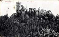 Postcard Meiningen in Südthüringen, Blick auf das Schloss Landsberg, Waldhang
