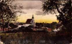 Postcard Neuzelle in Brandenburg, Stadtpanorama, Glockenturm, Wald, Wiese, Gebäude