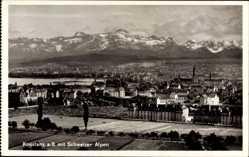 Postcard Konstanz am Bodensee, Stadtpanorama mit den Schweizer Alpen
