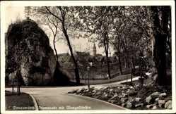 Postcard Donauwörth im schwäbischen Kreis Donau Ries, Promenade mit Mangoldfelsen