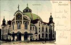 Postcard Düsseldorf am Rhein, Blick auf das Apollotheater, Straßenpartie, Kuppel