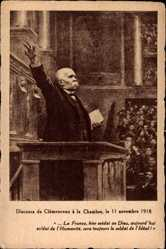 Künstler Ak Georges Clemenceau, 11 Novembre 1918, Discours