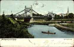 Ak Mülheim an der Mosel, Kettenbrücke, Ruderboot, Kirchturm