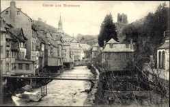 Postcard Monschau Montjoie in Nordrhein Westfalen, Flusspartie, Brücke, Häuser