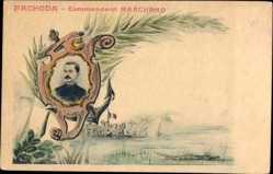 Künstler Ak Fachoda, Major Jean Baptiste Marchand, Faschoda Krise, 1898