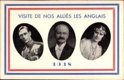 Postcard King George VI and Queen Elizabeth Bowes,Visite de nos Allies 1938, Lebrun