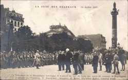 Postcard Fete des Drapeaux 1917, President, Deschanel, Ribot, Joffre, Foch