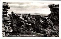 Postcard Ehrenfriedersdorf im Erzgebirge, Blick auf die Greiffensteine, Felsen