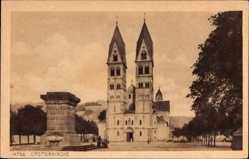 Postcard Koblenz in Rheinland Pfalz, Straßenpartie mit Blick auf die Castorkirche