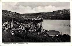 Postcard Kamp Bornhofen am Rhein, Blick auf den Ort, Fluss, Kirche, Felder