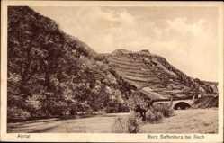 Postcard Mayschoß im Kreis Ahrweiler, Blick auf die Burg Saffenburg, Brücke