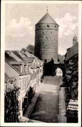 Postcard Freiberg im Kreis Mittelsachsen, Donatstor, Straßenpartie
