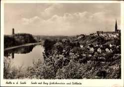 Postcard Halle an der Saale, Fluss mit Burg Giebichenstein und Kröllwitz