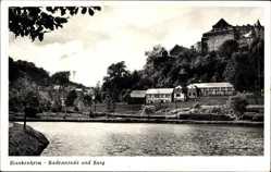 Postcard Blankenheim Ahr, Blick in die Badeanstalt mit der Burg