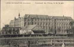 Postcard Momignies Wallonien Hennegau, Pensionnat des Frères, vue de la gare