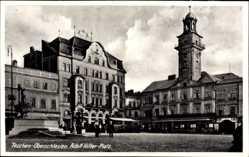 Postcard Cieszyn Teschen Schlesien, Adolf Hitler Platz mit Rathaus, Denkmal
