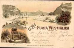 Winter Litho Porta Westfalica in Nordrhein Westfalen, Kaiser Wilhelm Denkmal