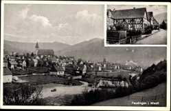 Postcard Feudingen Bad Laasphe im Kreis Siegen Wittgenstein, Totale, Fachwerkhäuser