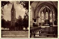 Postcard Lünten Vreden, Rektoratkirche St. Bruno, Innenansicht, Kanzel