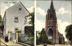 Postcard Plaidt Kreis Mayen, Kurzwaren A. Weiller, Mühlenweg 33, Kirche