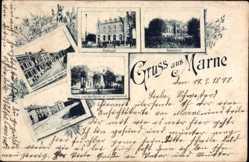 Postcard Marne Holstein, Postamt, Realschule, Marktplatz, Kriegerdenkmal, Norderstr.