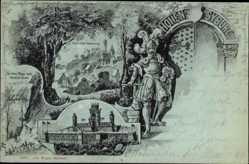 Mondschein Litho Hohensyburg Dortmund, Dorf und Ruine, Ritter, Wappen