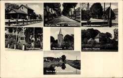 Postcard Heek in Westfalen, Bahnhof, Ludgerus Hospital, Gasthof Hartmann, Denkmal
