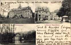 Postcard Bassenheim in Rheinland Pfalz, Schlossweiher, Schloss, Burghof