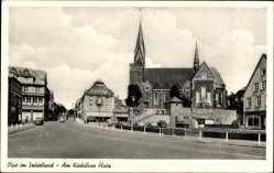 Postcard Olpe in Nordrhein Westfalen, Am Kurkölner Platz, Kirche, Autos