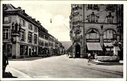 Postcard Lörrach in Baden Württemberg, Blick in die Teichstraße, Geschäfte, Brunnen