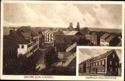 Postcard Weisel Rhein Lahn Kreis, Gasthaus zum Blüchertal, Blick auf den Ort
