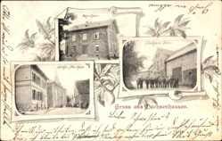 Postcard Dachsenhausen Rhein Lahn Kreis, Schulhaus, Pfarrhaus, Gasthaus Eckel