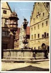 Postcard Rothenburg ob der Tauber Mittelfranken, St. Georgsbrunnen