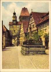 Postcard Rothenburg ob der Tauber Mittelfranken, Brunnen, Stadttor, Turm