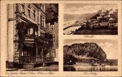 Postcard St. Goar im Rhein Hunsrück Kreis, Zum Jägerhaus, L. Buns, Loreley, Rheinfels
