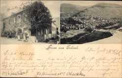 Postcard Enkirch an der Mosel im Landkreis Bernkastel Wittlich, Panorama, Gebäude