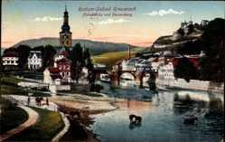 Postcard Bad Kreuznach, Nahebrücke und Kauzenburg, Pferde im Wasser
