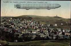 Postcard Idar Oberstein an der Nahe, Zeppelin Viktoria Luise von Frankfurt nach Idar
